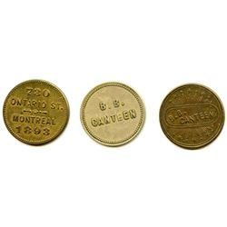 Lot of 3 Post-Confederation Quebec Tokens.