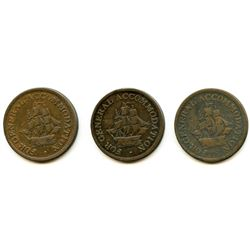Lot of Three Copper Preferable to Paper Half Penny Tokens.