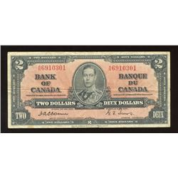 Bank of Canada $2, 1937 Osborne Signature