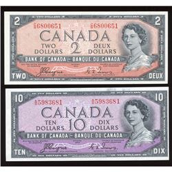 Bank of Canada $2, $10, 1954 Devil's Face