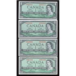 Bank of Canada $1, 1954 - Lot of 4 Transitional Prefix's