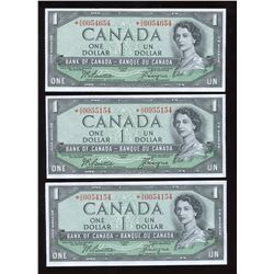 Bank of Canada $1, 1954 - Lot of 3 Replacement Notes