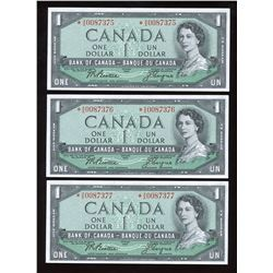 Bank of Canada $1, 1954 - Lot of 3 Consecutive Replacements
