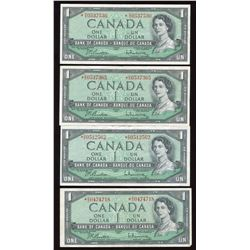 Bank of Canada $1, 1954 - Lot of 4 Replacement Notes