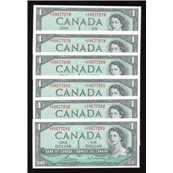Bank of Canada $1, 1954 - Lot of 6 Consecutive Replacements