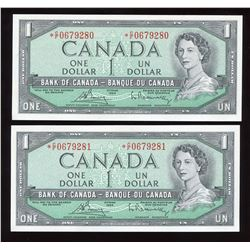 Bank of Canada $1, 1954 - Lot of 2 Consecutive Replacements