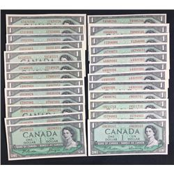 Bank of Canada $1, 1954 - Lot of 26 Notes