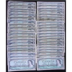 Bank of Canada $1, 1954 - Lot of 40 Replacement Notes