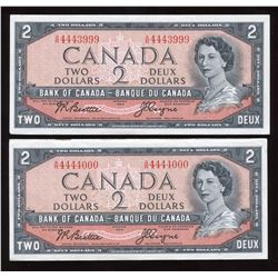 Bank of Canada $2, 1954 - Lot of 2 Cool Serial Numbers