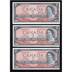 Bank of Canada $2, 1954 - Lot of 3 Cool Serial Numbers