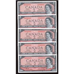 Bank of Canada $2, 1954 - Lot of 5 Consecutive Notes