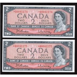 Bank of Canada $2, 1954 - Lot of 2 Consecutive Replacements