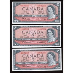 Bank of Canada $2, 1954 - Lot of 3 Consecutive Replacements