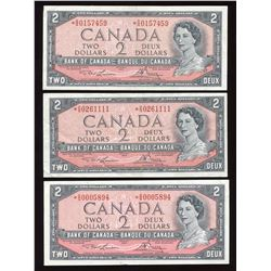 Bank of Canada $2, 1954 - Lot of 3 Replacement Notes