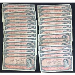 Bank of Canada $2, 1954 - Lot of 30 Replacement Notes