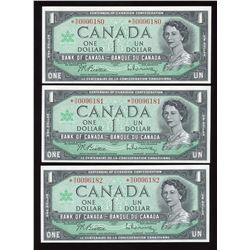 Bank of Canada $1, 1967 - Lot of 3 Consecutive Replacements