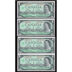 Bank of Canada $1, 1967 - Lot of 4 Consecutive Replacements