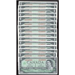 Bank of Canada $1, 1967 - Lot of 15 Consecutive Replacements