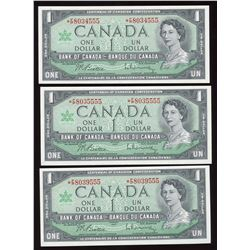 Bank of Canada $1, 1967 - Lot of 3 Replacement Notes