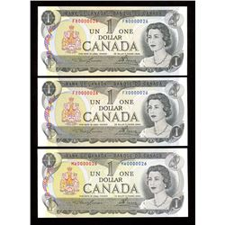 Bank of Canada $1, 1973 - Lot of 3 Low Serial Numbers
