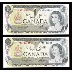 Bank of Canada $1, 1973 - Lot of 2 Consecutive Numbers