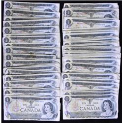 Bank of Canada $1, 1973 - Lot of 96 Transitional PA Prefix Notes