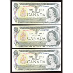 Bank of Canada $1, 1973 - Lot of 3 Consecutive Replacements