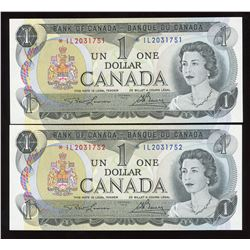 Bank of Canada $1, 1973 - Lot of 2 Consecutive Replacements