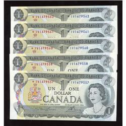 Bank of Canada $1, 1973 - Lot of 6 Consecutive Replacements