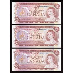 Bank of Canada $2, 1974 - Lot of 3 Consecutive Replacements