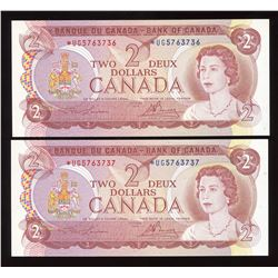 Bank of Canada $2, 1974 - Lot of 2 Consecutive Replacements