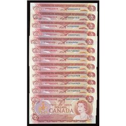 Bank of Canada $2, 1974 - Lot of 13 Notes