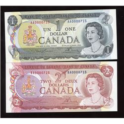 Bank of Canada $1 & $2 Low Serial Numbered Notes