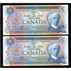 Bank of Canada $5, 1972 - Lot of 2 Consecutive Replacements