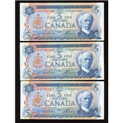 Bank of Canada $5, 1972 - Lot of 3 Consecutive Replacements
