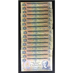 Bank of Canada $5, 1972 - Lot of 15
