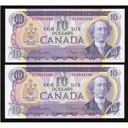 Bank of Canada $10, 1971 - Lot of 2 Consecutive Numbers