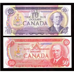 Bank of Canada $10 & $50 - Lot of 2 Low Serial Numbers