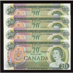 Bank of Canada $20, 1969 - Lot of 4 Consecutive Numbers