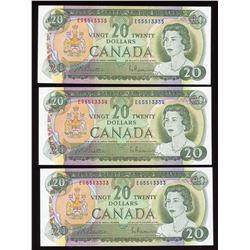 Bank of Canada $20, 1969 - Lot of 3 Consecutive Numbers