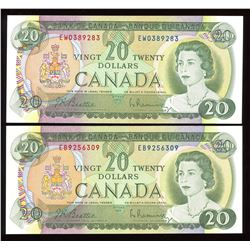 Bank of Canada $20, 1969 - Lot of 2 Notes