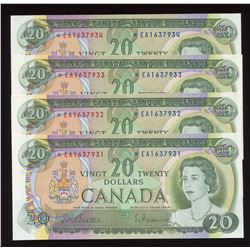 Bank of Canada $20, 1969 - Lot of 4 Consecutive Replacements
