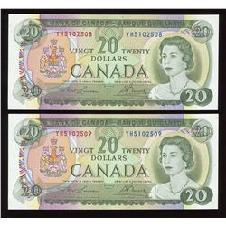Bank of Canada $20, 1969 - Lot of 2 Consecutive Numbers