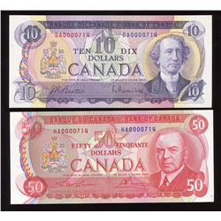 Bank of Canada $10 & $50, 1975 Low Serial Numbers - Lot of 2