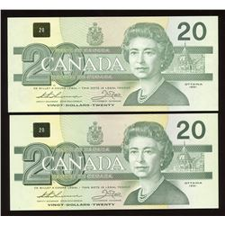 Bank of Canada $20, 1991 - Lot of 2 Replacement Notes