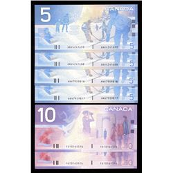 Bank of Canada $5 & $10 Canadian Journey Series Lot of 6 Notes