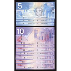 Bank of Canada $5 & $10 Canadian Journey Series Lot of 10 Notes