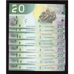 Bank of Canada $20 Canadian Journey Series Lot of 8 Notes
