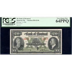 Bank of Montreal $20. Jan. 3rd, 1938