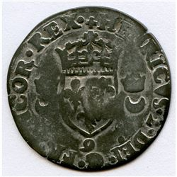 "1640 countermark on a 1550-""9"" [Rennes Mint] Henri II Douzain aux Croissants, Ciani 1305, Duplessy 9"